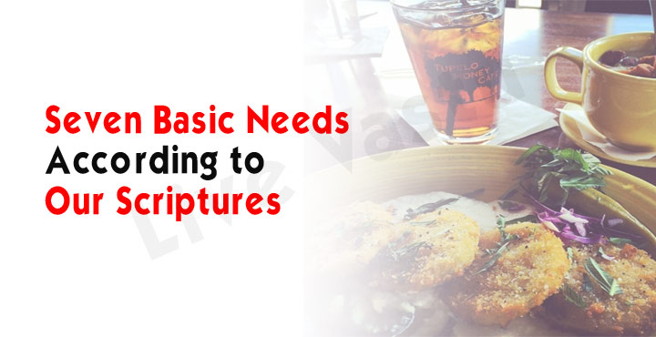 Seven basic needs according to our scriptures