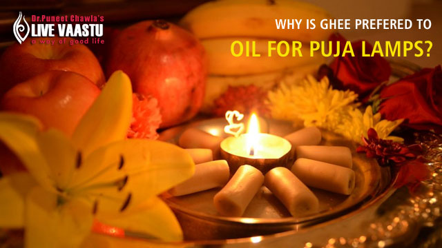 Why is ghee prefered to oil for puja lamps