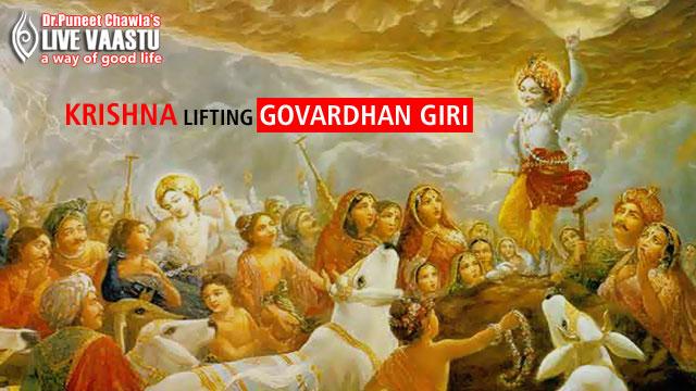 Krishna Lifting Govardhan Giri