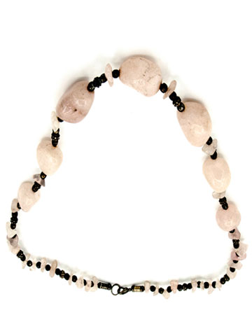 Vintage Pink Stone beads Knitted Necklace