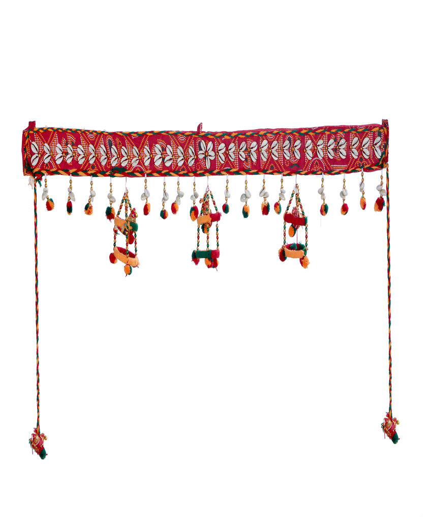 Triple Wind Chime Door Toran  - Red & Green Color