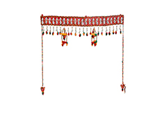 Double Wind Chime Door Toran  - Saffron, Red & Green Color