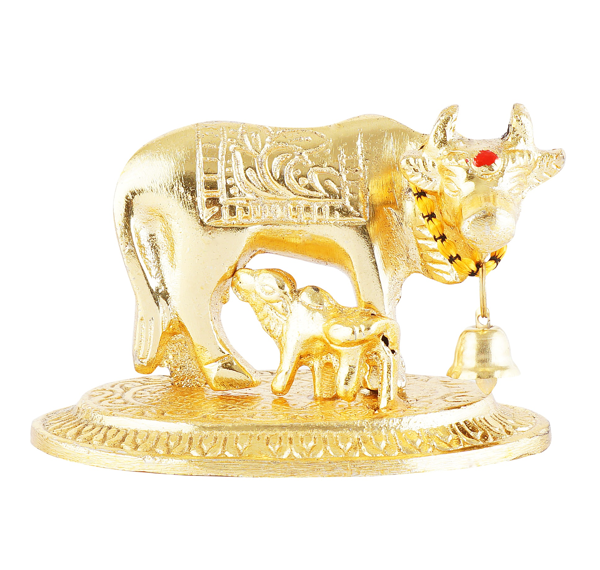 Golden Cow and Calf in Metal