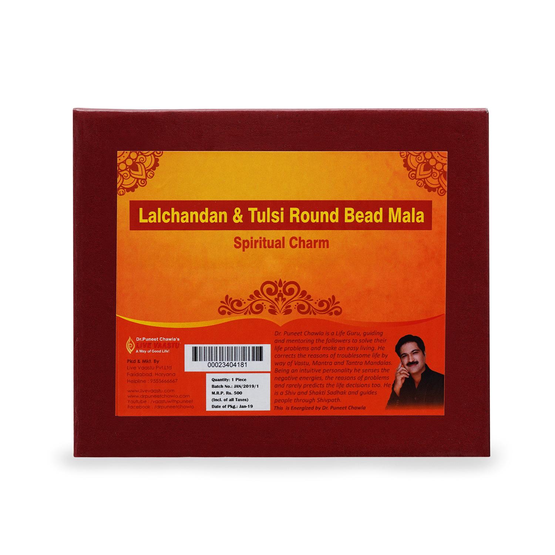 Lalchandan & Tulsi Round Bead Mala