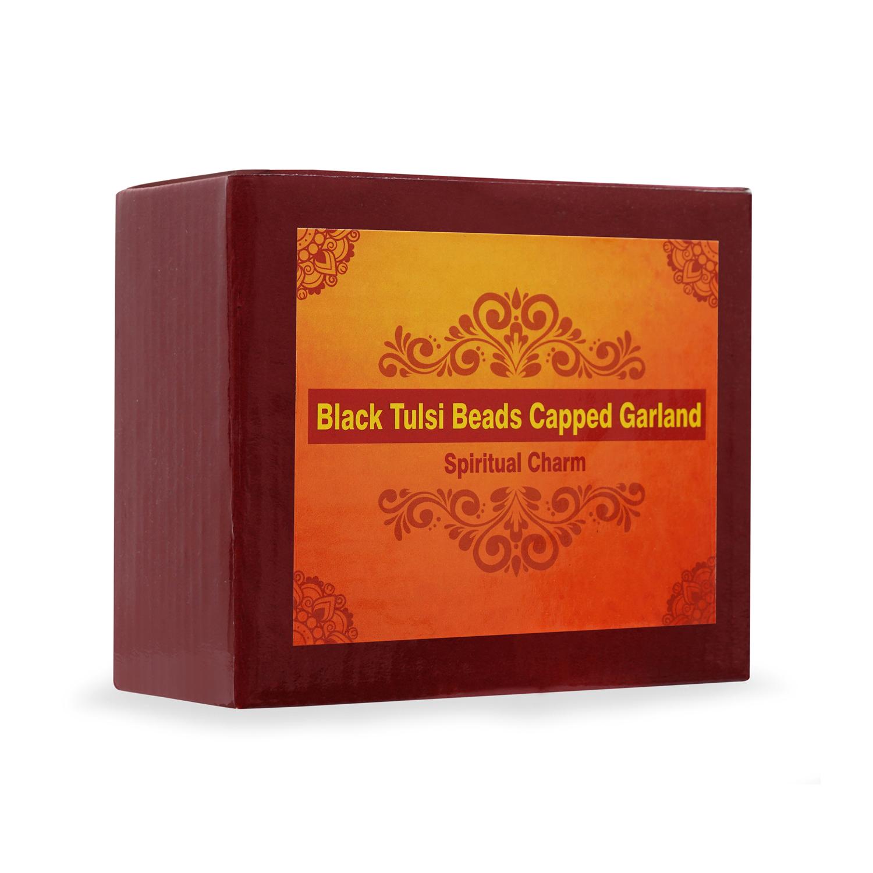 Black Tulsi Beads Capped Garland