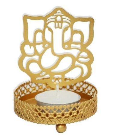 Ganpati Golden Metal Candle Holder