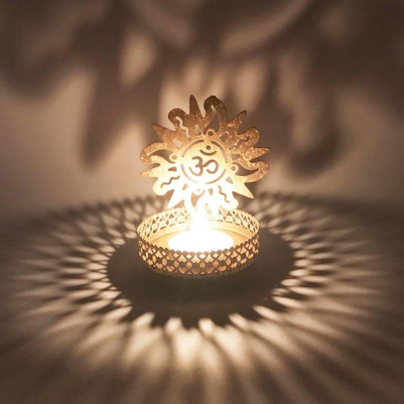 Om Golden Metal Candle Holder