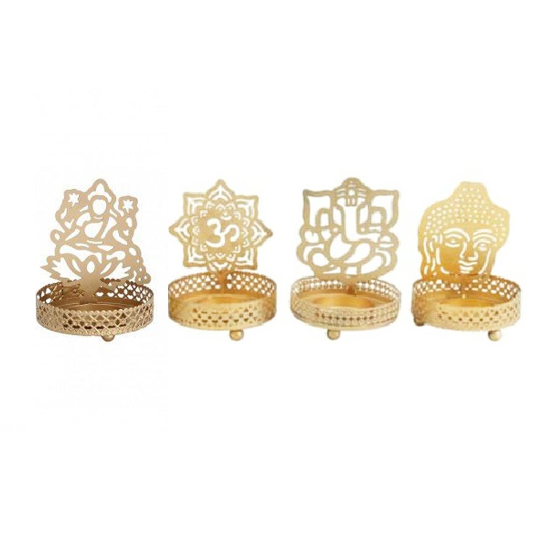 Combo Pack of Metal Candle Holder ( Om , Lakshmi, Ganpati and Buddha  ) …