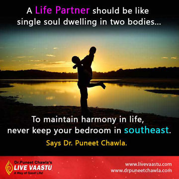never keep your bedroom in south-east direction for happy marrid life