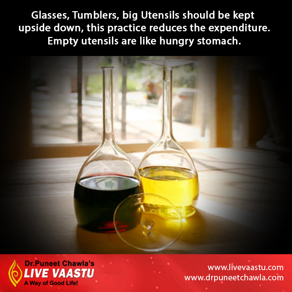 As per Dr. Chawla, Glasses, Tumblers, Big utensils should be kept upside down for reducing the expenditure.