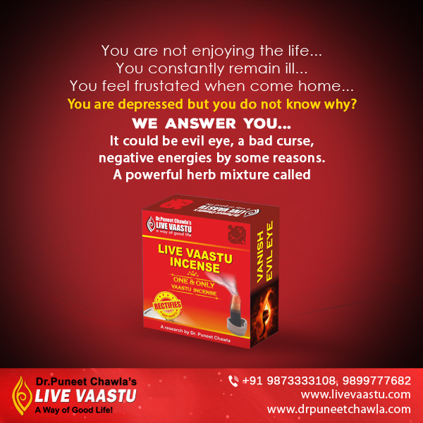 LiveVaastu Incense suggests by Dr. Chawla to remove evil eye, bad curse and negative energies to your home.