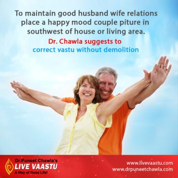 As per Dr. Chawla, Place a happy mood couple picture in southwest of house for good relations.